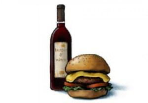 drawing of a burger and wine bottle